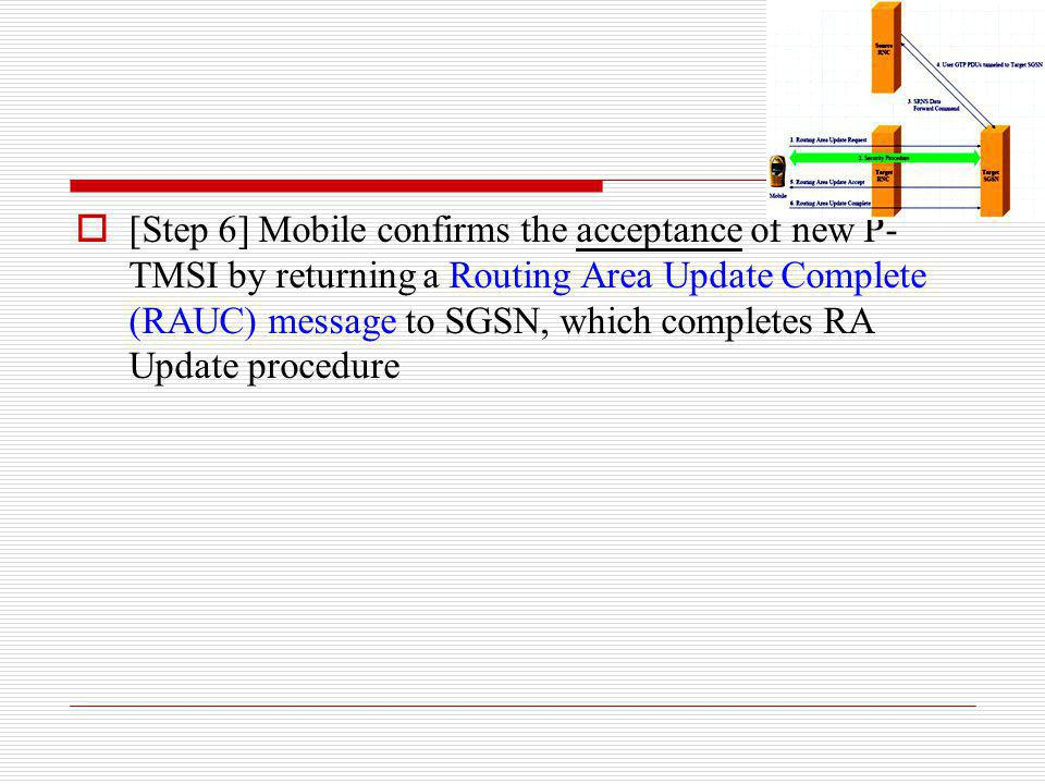 [Step 6] Mobile confirms the acceptance of new P-TMSI by returning a Routing Area Update Complete (RAUC) message to SGSN, which completes RA Update procedure